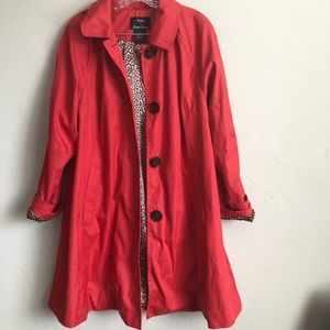 Dennis Basso Red Cheetah Print Lined Pea Coat